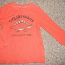JUMPING BEANS Orange Thermal Waffle Weave Stegosaurus Top Boys Size 24 months