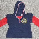 Navy and Red Hooded Long Sleeved Top Girls Size 3T