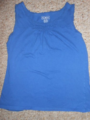 LL BEAN Blue Ruffled Trim Tank Top Girls Size 18 XL