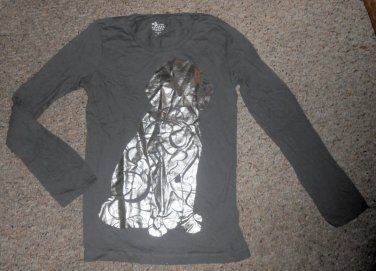 OLD NAVY Gray Dog Long Sleeved Top Girls Size 14 XL