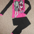 NEW Pink and Black MONSTER HIGH Thermal Underwear Set or Pajamas Girls Size 12