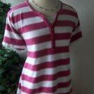 VAN HEUSEN Pink Striped Short Sleeved Pullover Ladies MEDIUM