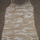 JUSTICE Brown Camo Eyelet Trim Tank Top with Shelf Bra Girls Size 12