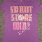 DANSKIN NOW Purple SHOOT SCORE WIN Short Sleeved Top Girls Size 10-12