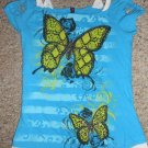 HYBRID GIRL Blue Butterfly Top Cut Out Shoulders Girls Size 10-12 L