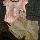 CARTER'S Striped Doggy Onzie and Khaki Shorts Boys Size 6 months