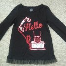 FADED GLORY Black Long Sleeved Sparkly Phone Top Girls Size 7 Tulle Trim
