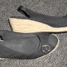 NATURALIZER Black Open Toe Espadrille Wedge Ladies Size 11