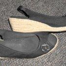 NATURALIZER Black Open Toe Espadrille Wedge Ladies Size 11