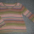 Pink Striped V-Neck Striped Sweater Womans Plus Size 2X