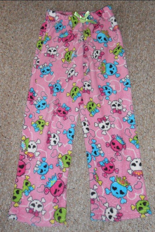 JOE BOXER Pink Skull Print Fleece Sleep Pants Girls Size 10-12 Large