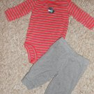 CARTER'S Gray Striped Moose Pant Set Boys Size 3 months