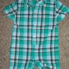 GYMBOREE Green Plaid One Piece Short Romper Boys Size 3-6 months