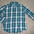 SONOMA Blue Green Plaid Long Sleeved Button Front Shirt Boys Size 4