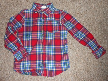 CRAZY 8 Red and Blue Plaid Long Sleeved Flannel Shirt Boys Size 4T