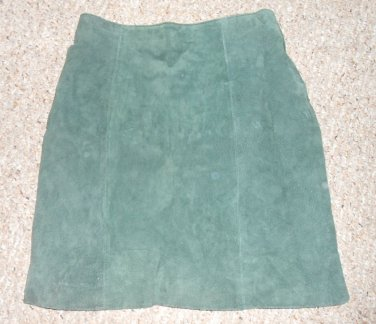 WILSONS LEATHER Green Suede Leather Skirt Ladies Size 10