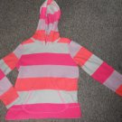 THE CHILDREN'S PLACE Pink Striped Hooded Fleece Pullover Girls Size 7-8
