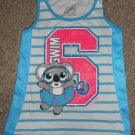 JUSTICE Sparkly Blue Striped Swim Panda Bear Sleeveless Top Girls Size 10