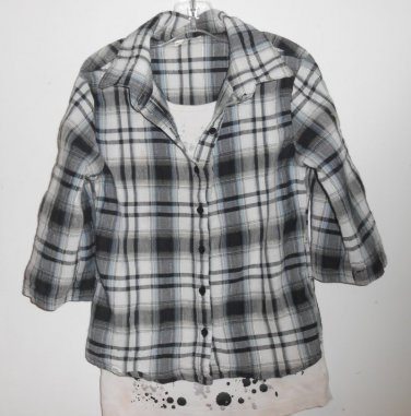 JUSTICE Black Plaid Layered Look LOVE Top Girls Size 10