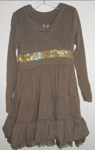 THE CHILDREN�S PLACE Brown Sequined and Tulle Trim Dress Girls Size 8