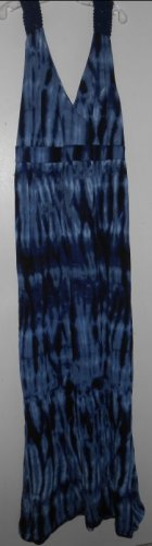FADED GLORY Full Length Blue Tie Dyed Crochet Trim Sundress Ladies Size 8-10 M
