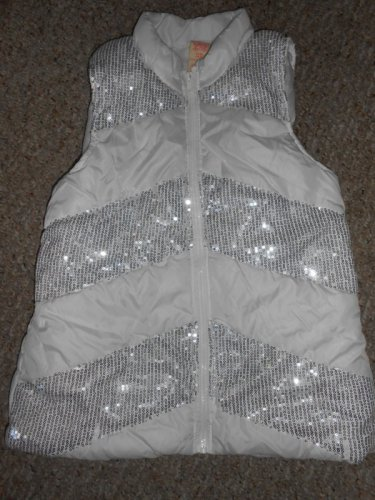 FADED GLORY White Sequined Puffer Vest Girls Size 14-16 XL