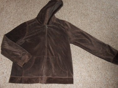 CHARTER CLUB Brown Hooded Zip Front Jacket Ladies XLarge