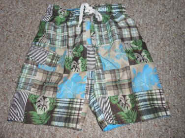 CHEROKEE Brown Plaid and Tropical Print Trunk Style Board Shorts Boys Size 6-7