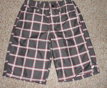 UNIVIBE Gray and Red Plaid Board Shorts Swim Suit Boys Size 8