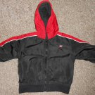NIKE Black and Red Hooded Nylon Zip Front Jacket Boys Size 18 months
