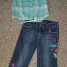 Green Plaid MUDD Crop Top CIRCO Butterfly Embellished Capri Jeans Girls Size 7