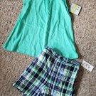 NEW Green Plaid CARTER'S Sleeveless Short Set Girls Size 4