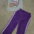 Gray HELLO KITTY Top with Purple Lined Athletic Pants Girls Size 3T