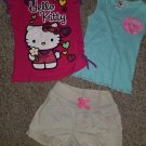 Lot of Tops HELLO KITTY and JUMPING BEANS Khaki Shorts Girls Size 5