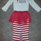 CARTER'S Red and White Santa's Little Helper Tutu Legging Pant Set Girls 18 months