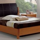 Berta  Platform Bed with Leather Headboard
