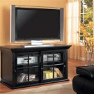 Alfredo Black Wood and Clear Glass Tv Stand