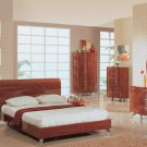 Uniquely Soft Shaped Platform Bedroom Set in Warm Brown Color