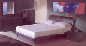 Milan Leather Headboard Modern Bedroom Set