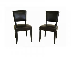 Dark Brown Leather Dining Chair Set of 2