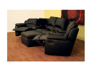 wsi-8802 // Home Theater Seating Curved Row of 4 Black