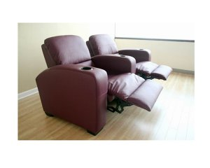 Row of 2 - Showtime Theatre Sectional - Burgundy