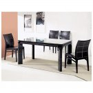 Stylish Black Leather Dinette Set with Top Stitched Design