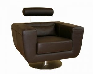 Swivel-Action Dark Brown Leather Club Chair