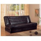 C_500771 Brown leather match futon/sofa bed