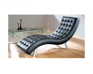 7900 Black Leather Relax Chaise