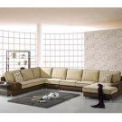 Eho-S406A // Leather and Microfiber Solid Oak Frame Bertino Sectional Sofa