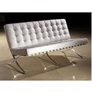 Eho-A703  //  White Italian Leather Sofa with Extra Padded Seating