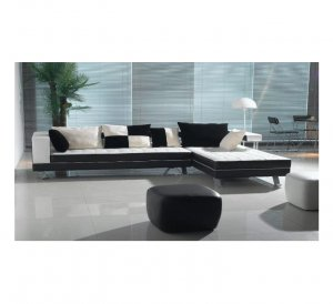 Sd_H218  //   Fermenti Design Black Two Tone Leather Sectional Sofa