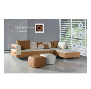 Sd_H218  //  Fermenti Design Tan Two Tone Leather Sectional Sofa